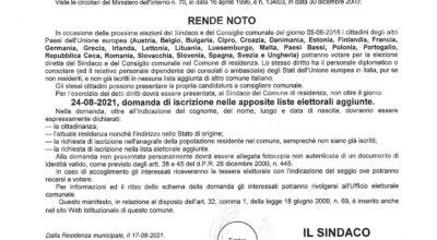 ELEZIONI COMUNALI DEL 3 E 4 OTTOBRE 2021 – ESERCIZIO DEL DIRITTO DI VOTO E DI ELEGGIBILITA' IN ITALIA ALLE ELEZIONI COMUNALI PER I CITTADINI DELL'UNIONE EUROPEA
